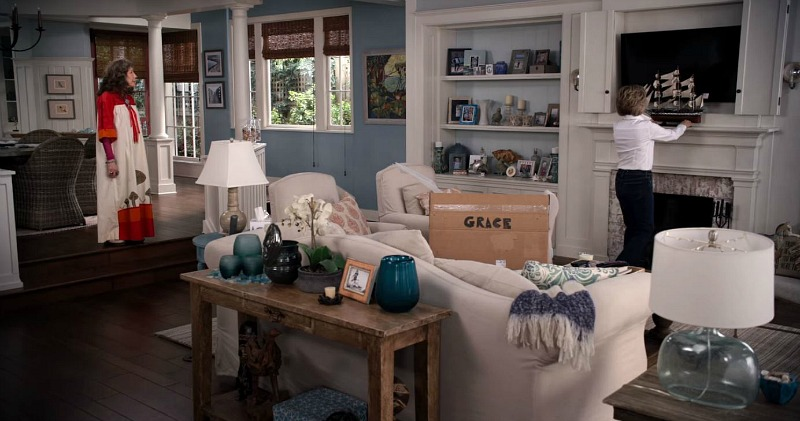 Grace and Frankie beach house living room fireplace