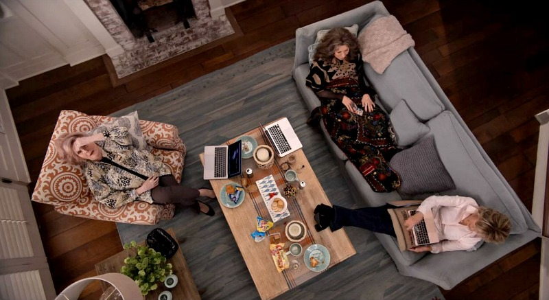 Grace and Frankie's beach house family room overhead shot