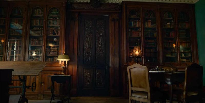 Locke and Key House Winter Study Bookshelves