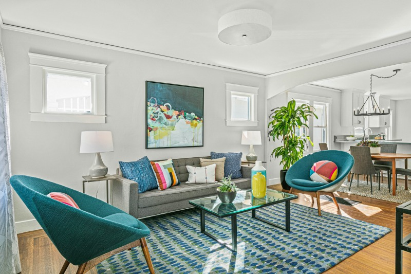Bungalow Living Room Teal Accents