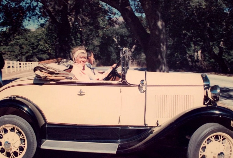 Doris Day in her antique Ford convertible