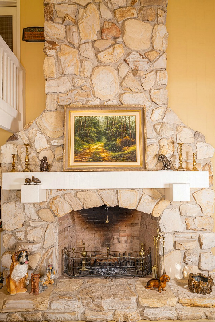 Doris Day's House in Carmel Stone Fireplace