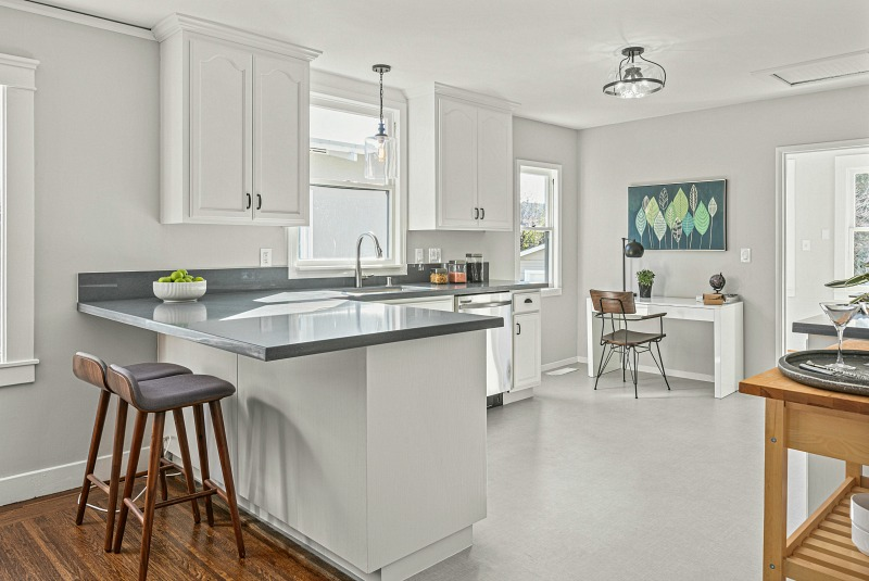 white and gray bungalow kitchen