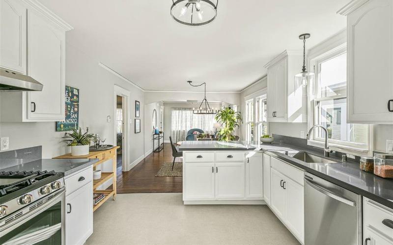 white kitchen in Berkeley bungalow