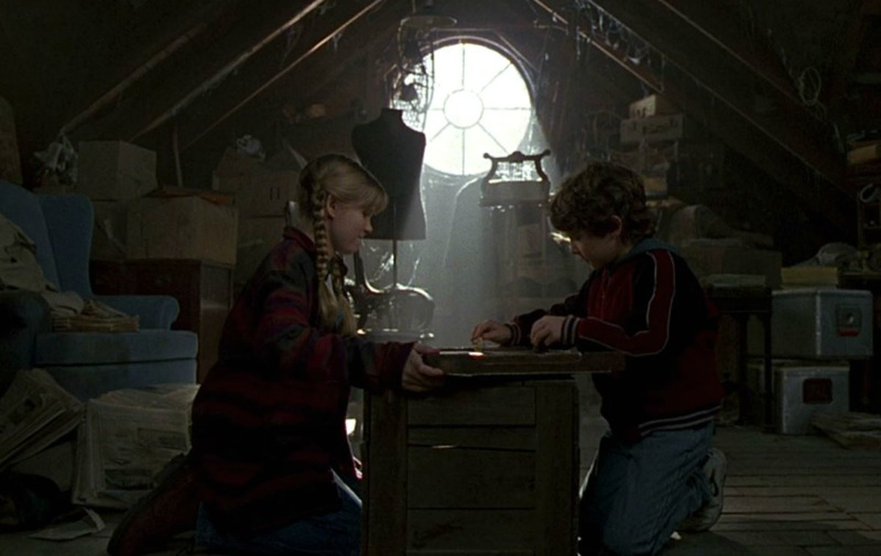 Jumanji house attic Judy and Peter playing the game