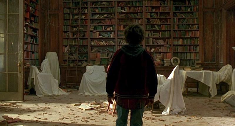 Jumanji house library bookshelves Peter Shepherd