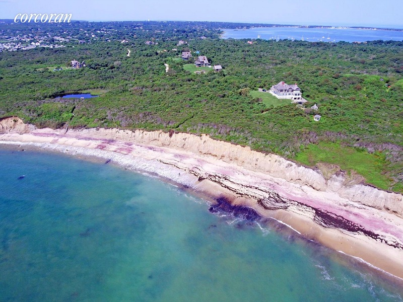 Aerial view Dick Cavett house listing Montauk NY