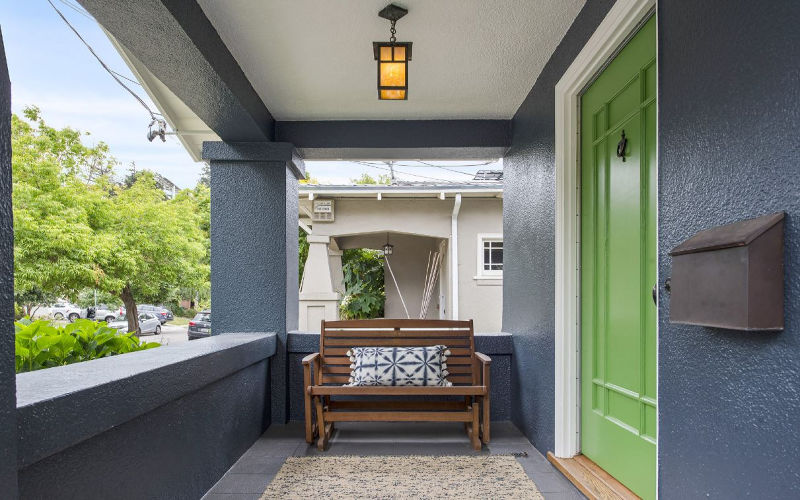 Blue Craftsman Green Door Front Porch