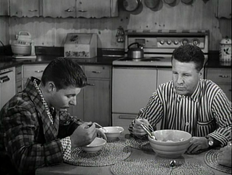 David and Ozzie Nelson in the Kitchen eating ice cream