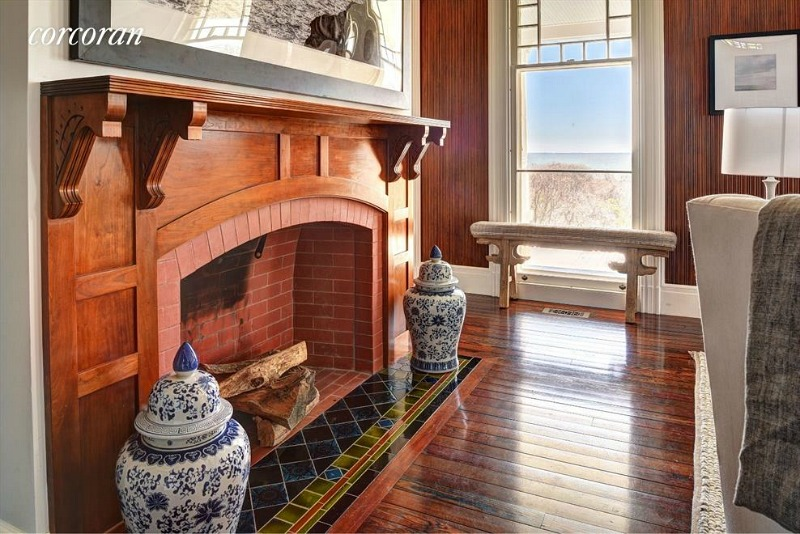 Dick Cavett's beach house living room fireplace