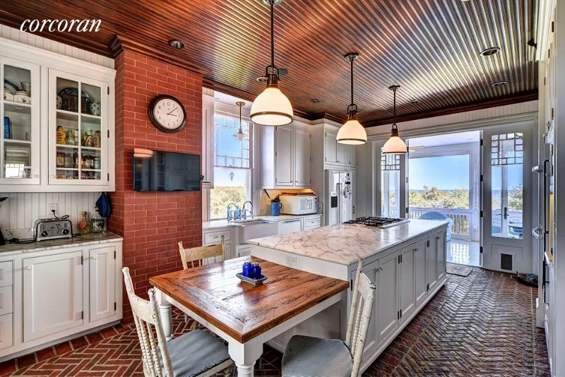 Dick Cavett's oceanfront home white kitchen