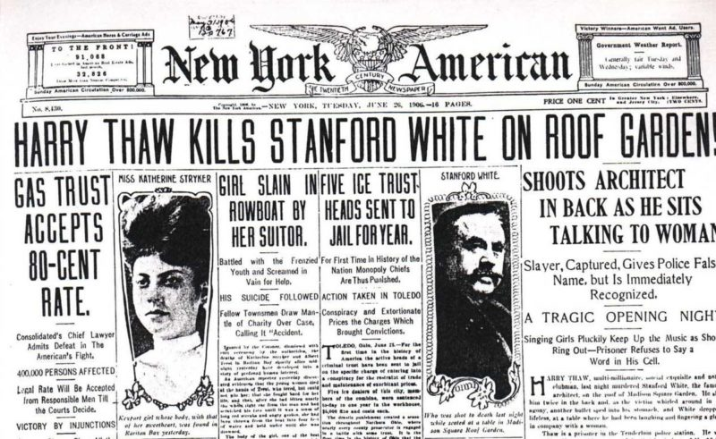 Harry Thaw Kills Stanford White Newspaper Story 1906