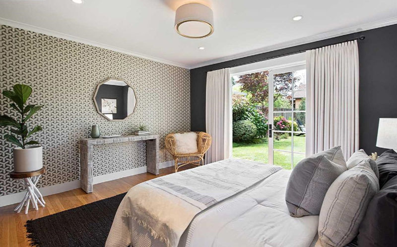 gray master bedroom wallpaper