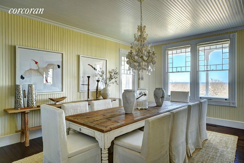 yellow beadboard dining room beach house