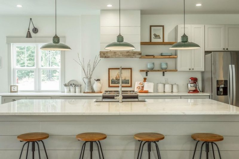 Kitchen island with barstools in farmhouse