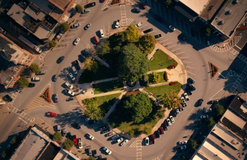 aerial view of covington town square