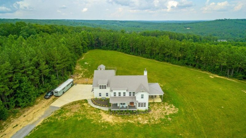 Aerial view Modern Farmhouse Signal Mountain