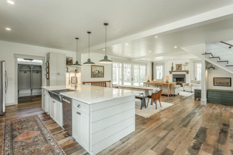 kitchen in open concept farmhouse