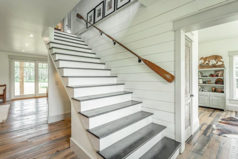open staircase in modern farmhouse