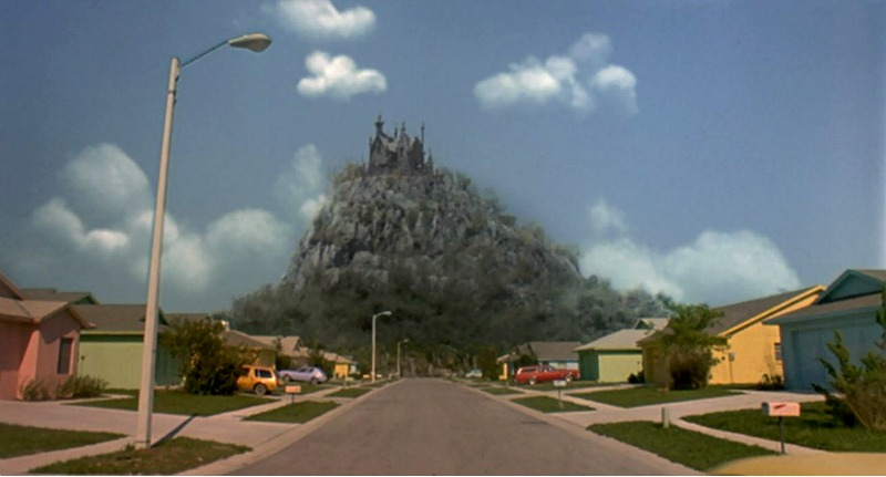 Castle on a hill in Edward Scissorhands movie