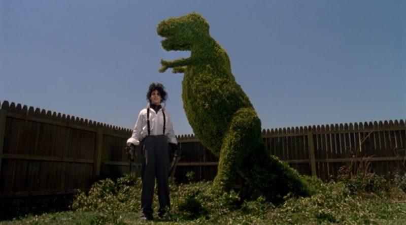 Johnny Depp dinosaur topiary