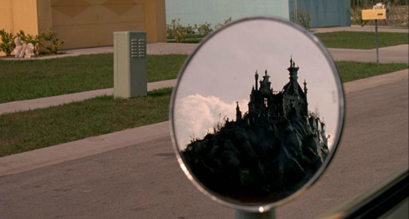Scissorhand castle in Peg's rearview mirror