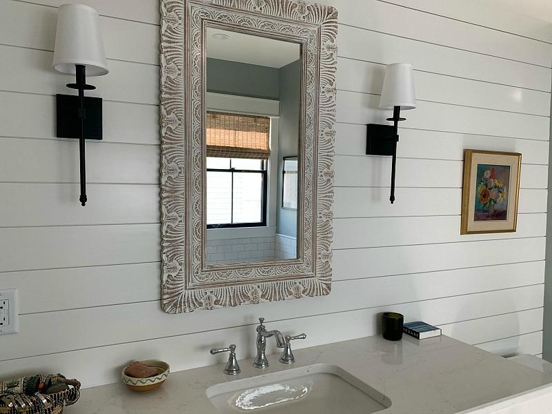 bathroom with shiplap wall