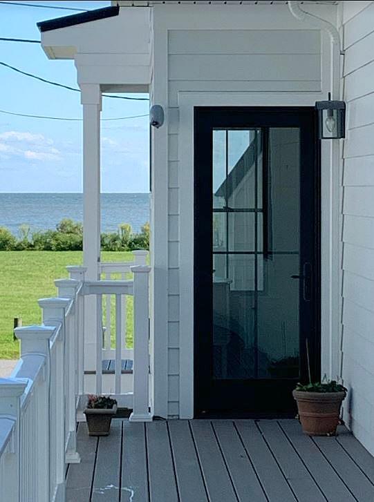 black framed glass exterior door