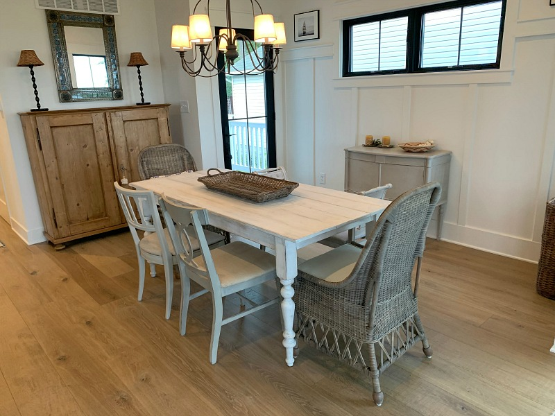 dining room with board and batten wall