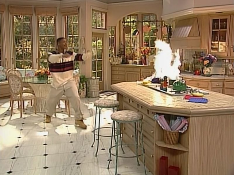 """Will Smith in \""""Fresh Prince\"""" kitchen with fire on stove"""