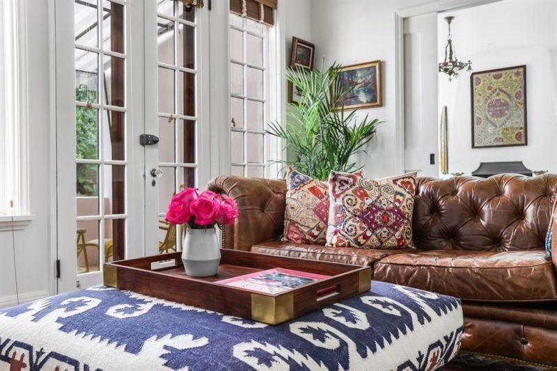Austin Bungalow 122 Laurel Lane For Sale Leather Sofa in Study