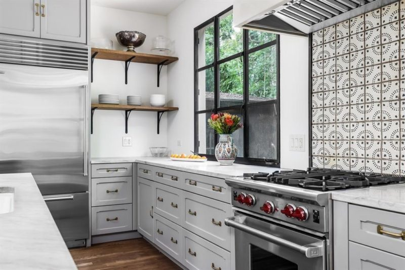 Kitchen with gray cabinets