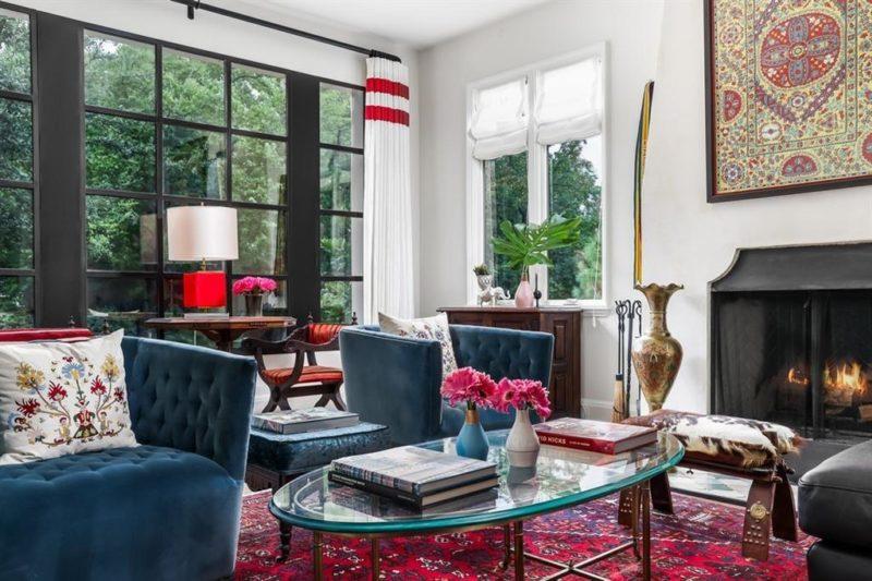 Austin Bungalow 122 Laurel Lane For Sale blue velvet armchairs in living room