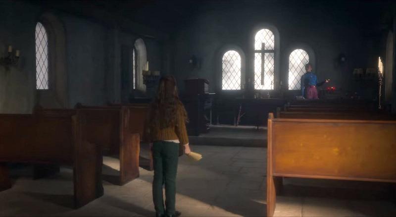 chapel at Bly Manor pews
