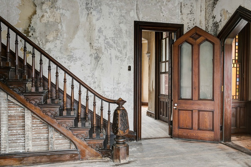 grand staircase and front door