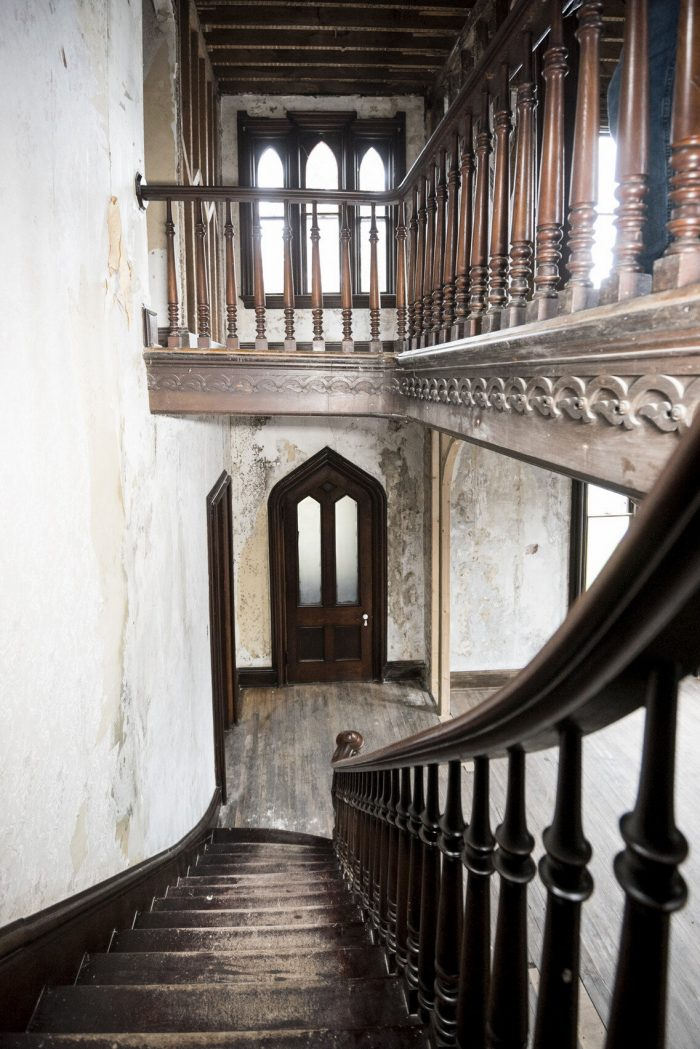 looking down to front door from staircase