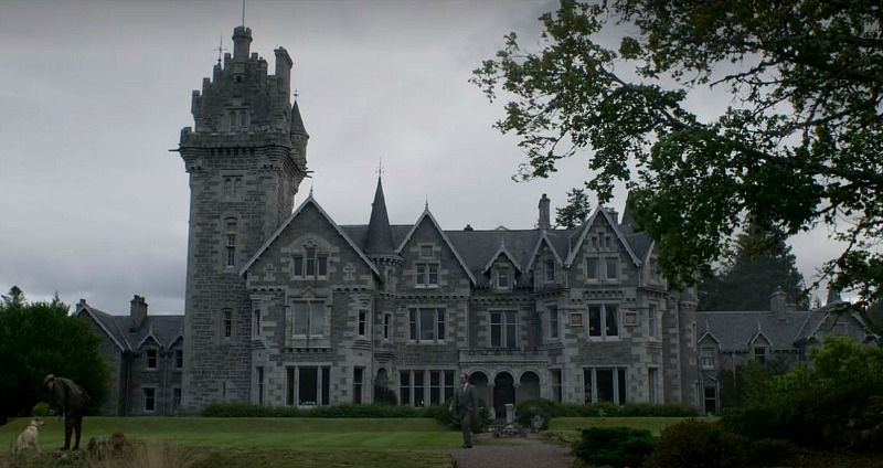 "exterior of Scottish Baronial House in ""The Crown"""