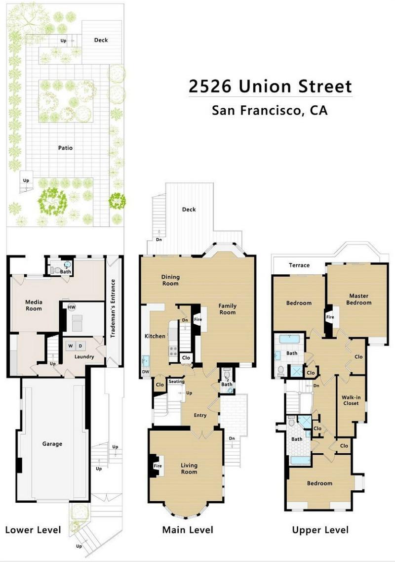 Floor plans for 2526 Union Street San Francisco