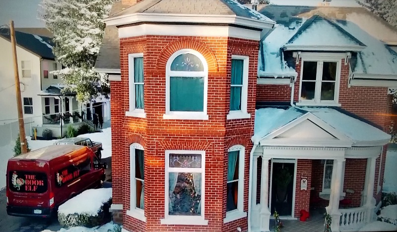aerial view of red brick house